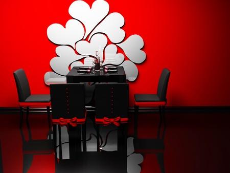 Design interior of elegance romantic dining room  photo