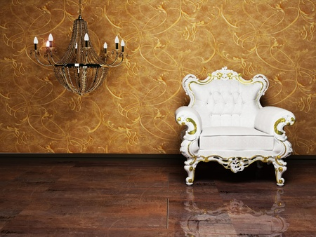 Interior design with a classic elegant  armchair and a chandelier Stock Photo - 12975910