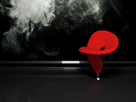 Modern  interior with a red  armchair on the smoky background Imagens