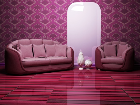 Modern  interior with a sofa and an armchair on the interesting colored parguet photo