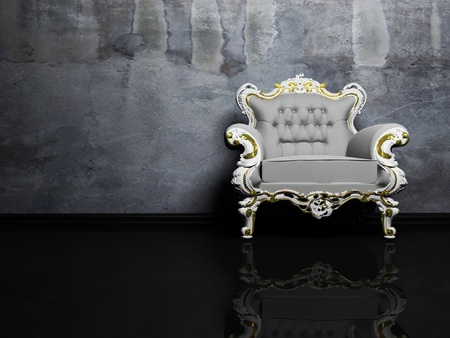 Modern  interior with a grey classic armchair on the dirty background Stock Photo - 12975502
