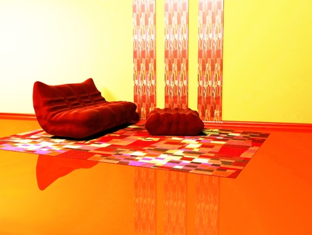 pouf: Interior design of living room witha red sofa and a pouf on the colored carpet