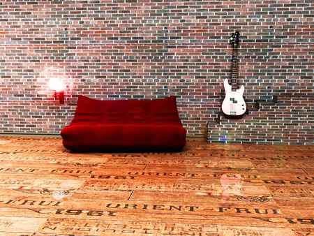 gitar: Interior design of living room with a sofa, a gitar and a lamp in grunge style