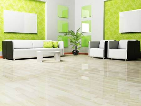Modern interior design of living room with a sofa and armchairs