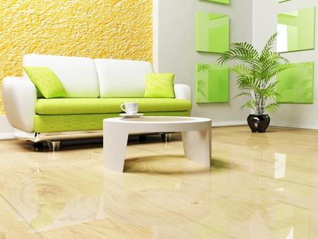 sala de estar: Dise�o moderno interior del sal�n con un sof� y una mesa Foto de archivo