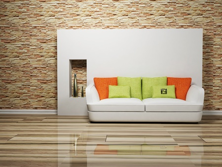 Modern interior design of living room with a sofa, rendering photo