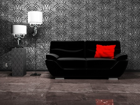 shiny floor: Modern interior design with a sofa and two floor lamps, rendering Stock Photo