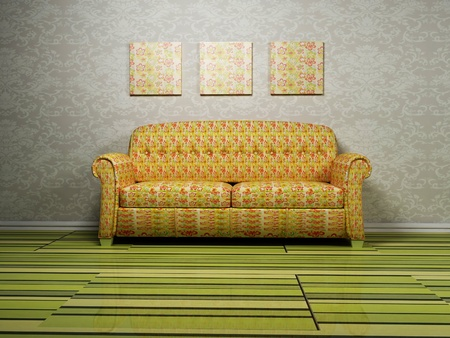 Modern interior design with a nice shiny sofa on the green parquet photo