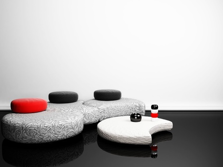 pouf: Modern  interior with a creative pouf and a table in minimalism style Stock Photo