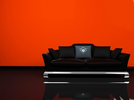 Modern interior design with an elegance black sofa on the orange background photo