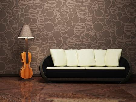 Modern interior design with a creative floor lamp and a sofa photo