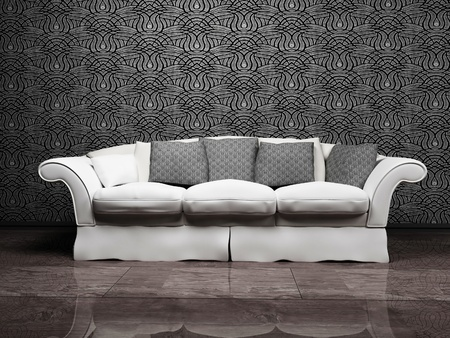 Modern interior design with a nice gray sofa on the interesting background photo