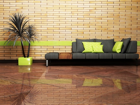 Modern interior design of living room with a sofa and a plant photo