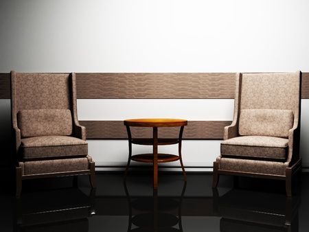 cretive: Modern  interior design with two elegant armchairs and a table, rendering Stock Photo