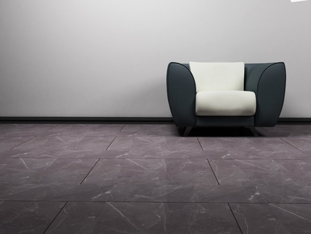 single rooms: A nice modern gray and white armchair on the white background, minimalism