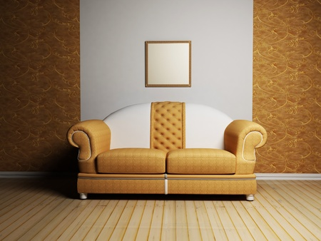 Modern  interior design with a nice sofa and a picture on the wall photo