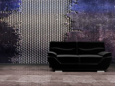 Interior in grunge style with a black sofa, rendering Stock Photo - 12975932