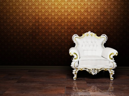 Interior design with a classic elegant  armchair on the rich background