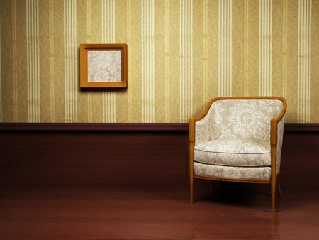 Interior design with a classic elegant  armchair and a picture on the wall photo