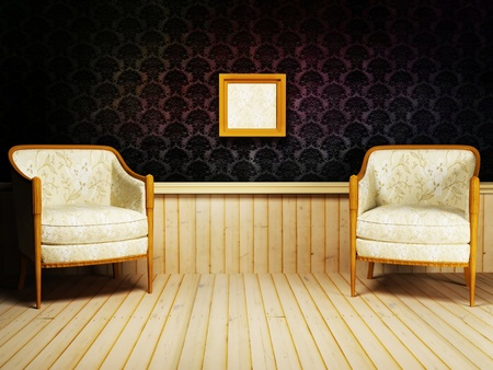 Interior design with the classic elegant  armchairs on the rich background photo