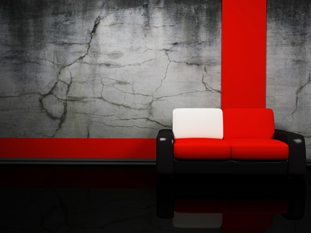 Interior design with a red and black sofa on the dirty background photo