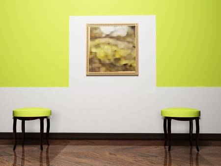 pouf: Modern  interior design with two chairs and a nice picture, rendering