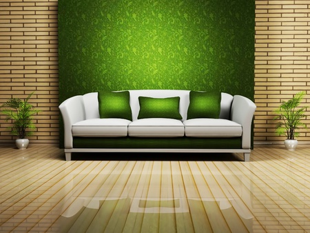 sofa furniture: Modern  interior design with a nice sofa and a plant, rendering