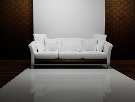 single rooms: Modern  interior design with a white sofa in the empty room Stock Photo