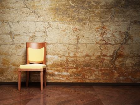 silla de madera: Dise�o interior moderno con una buena silla en el fondo antiguo