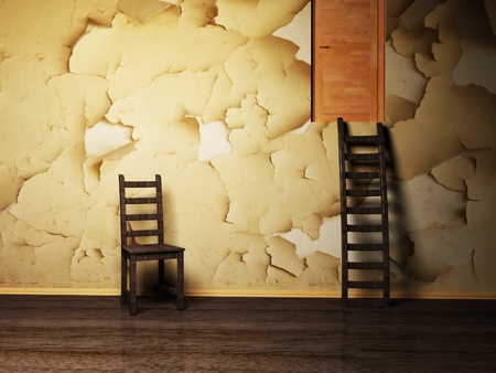 Interior design with a wooden chair and a staircase on the grunge background photo