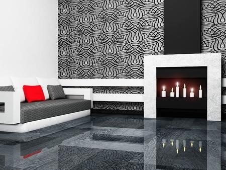 Moderno design degli interni di soggiorno con fireplase e un divano, minimalismo, rendering 3d Archivio Fotografico
