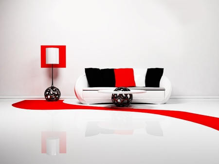 Modern interior design of living room with a  sofa, a table and a floor lamp, minimalism, 3d rendering