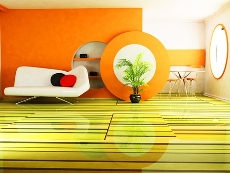 Modern  interior design of living room with a sofa, a plant and a zone with a dinning group photo