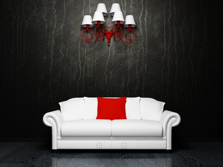 Modern  interior design with a white sofa and a chandelior, rendering photo
