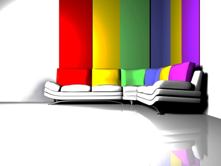 Interior design scene with a white sofa with the colored pillows on the interesting background photo