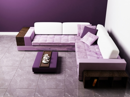 Modern  interior design of living room with a nice sofa and a table photo