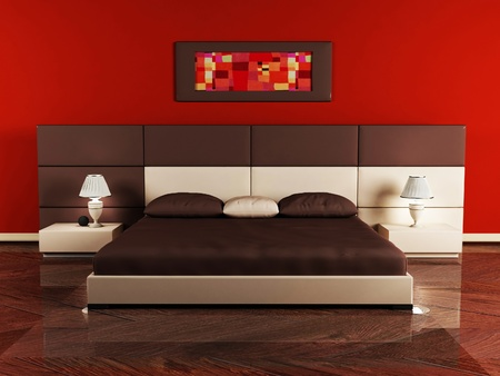 Modern  interior design of bedroom with a nice bed and a table photo