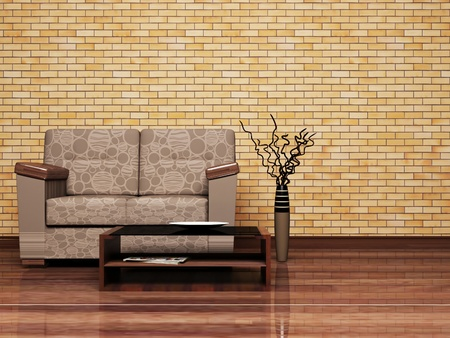 Modern  interior design of living room with a brown sofa and a table photo