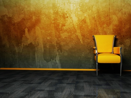 Interior design scene with a nice chair on the grunge background Stock Photo - 12975728