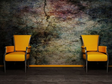 Inter design scene with two armchair on the grunge background Stock Photo - 12975931