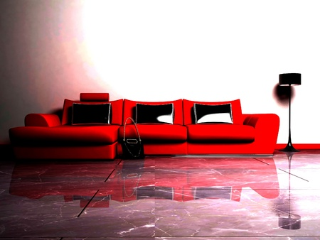 Modern  interior design of living room with a red sofa, a bag and a floor lamp Stock Photo - 12975550