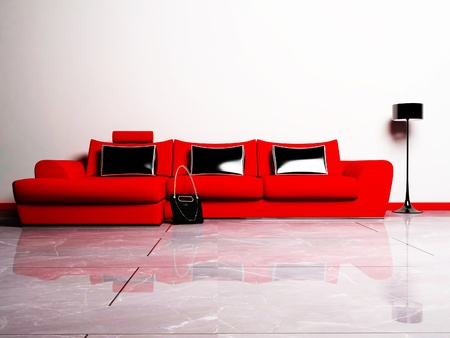 red sofa: Modern  interior design of living room with a red sofa, a bag and a floor lamp