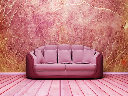 Interior design scene with a nice sofa on the grunge background photo