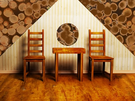 Modern  inter design of living room or cafe with two chairs and a table Stock Photo - 12975881