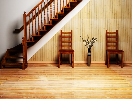 restaurant exterior: Modern  interior design of living room or cafe with two chairs, a vase and the stairs Stock Photo