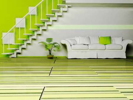 Modern  inter design of living room with a nice sofa, the stairs and a plant Stock Photo - 12975617