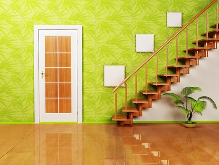 Interior design scene with a nice door, a plant and the stairs on the green background