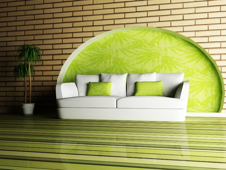 Modern  inter design of living room with a white sofa and a plant Stock Photo - 12975649