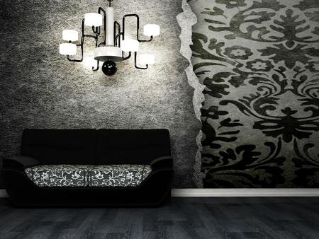 grunge interior: Dise�o moderno interior del sal�n con un sof� negro y una ara�a