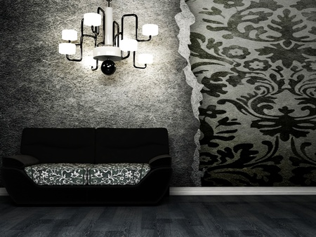 Modern  interior design of living room with a black sofa and a chandelier Stock Photo - 12975924